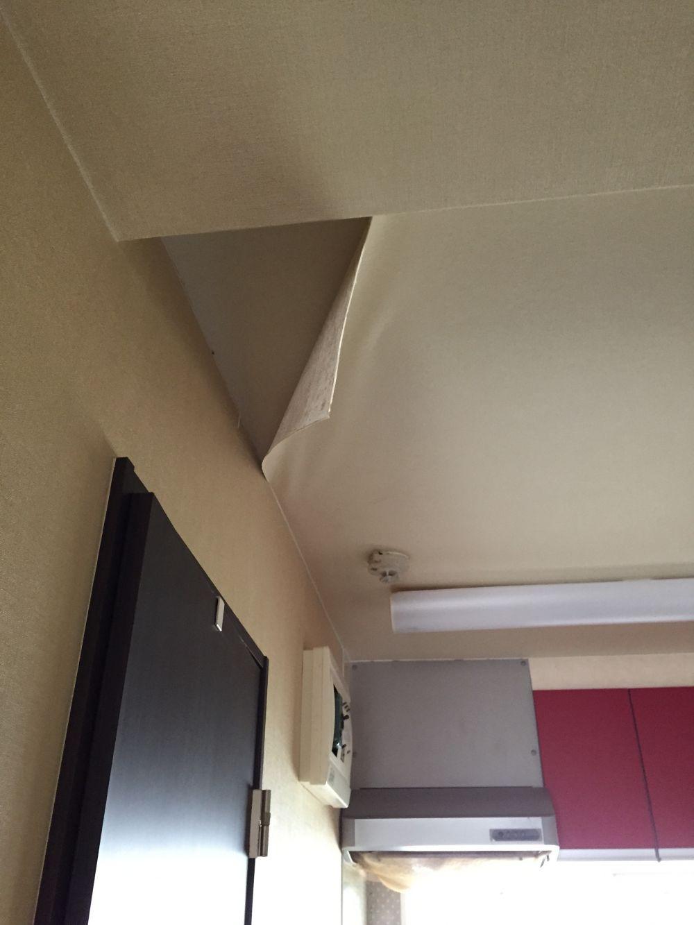 キッチンそばの天井の壁紙の一部が剥がれ たて50 よこ1mくらい リフォームのことなら家仲間コム