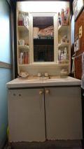 「洗面所床と洗面台のリフォーム」についての画像