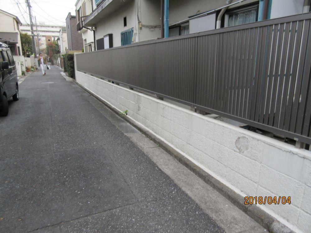 東側ブロック塀施工前