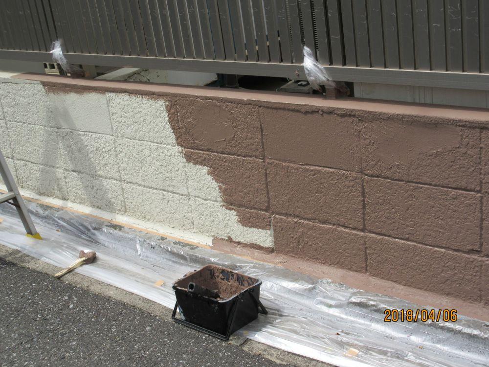 ブロック塀東側 中塗り