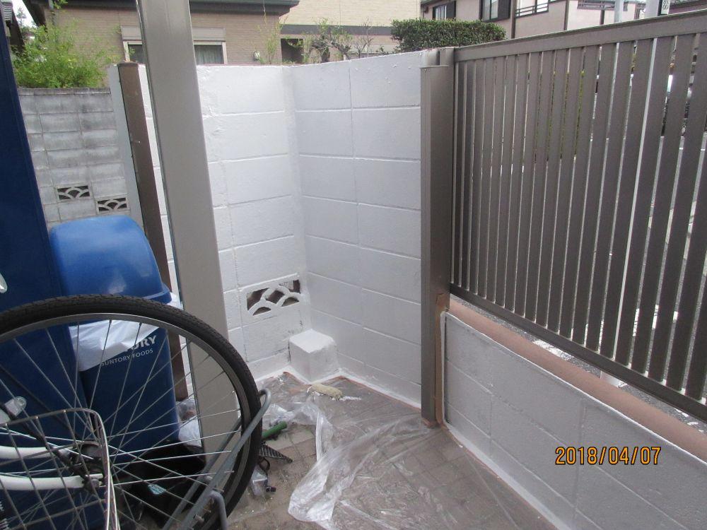 裏側のブロック塀 上塗り後