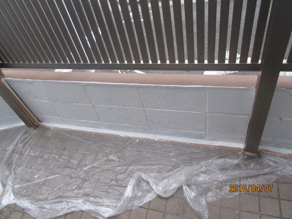 東側ブロック塀裏側上塗り後