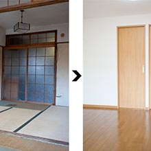 和室から洋室にリフォーム【6畳(10平米)フローリング張り替え スタンダードクロス張り替え】